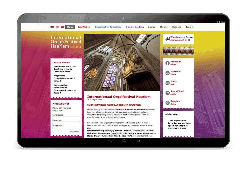 Website Ontwerp Orgel Festival Haarlem