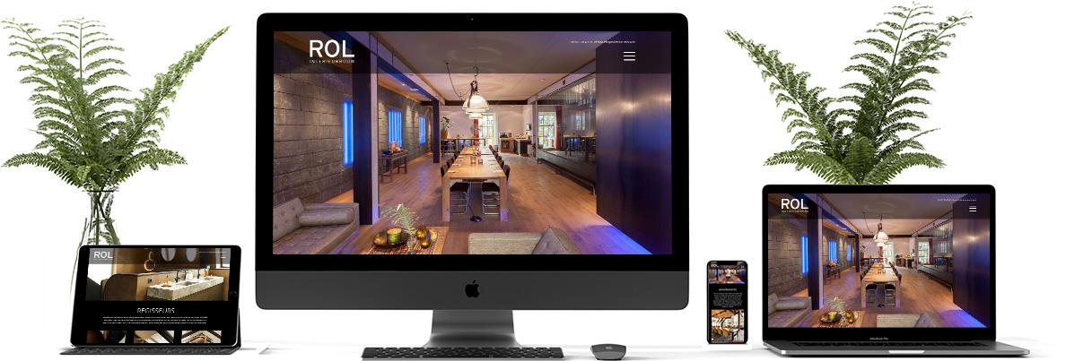 Responsive website ontwerp voor mobiel, tablet en computer. ROL interieurbouw