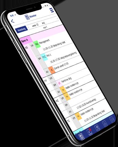 rooster app op mobiel met heldere vormgeving voor MedSpace