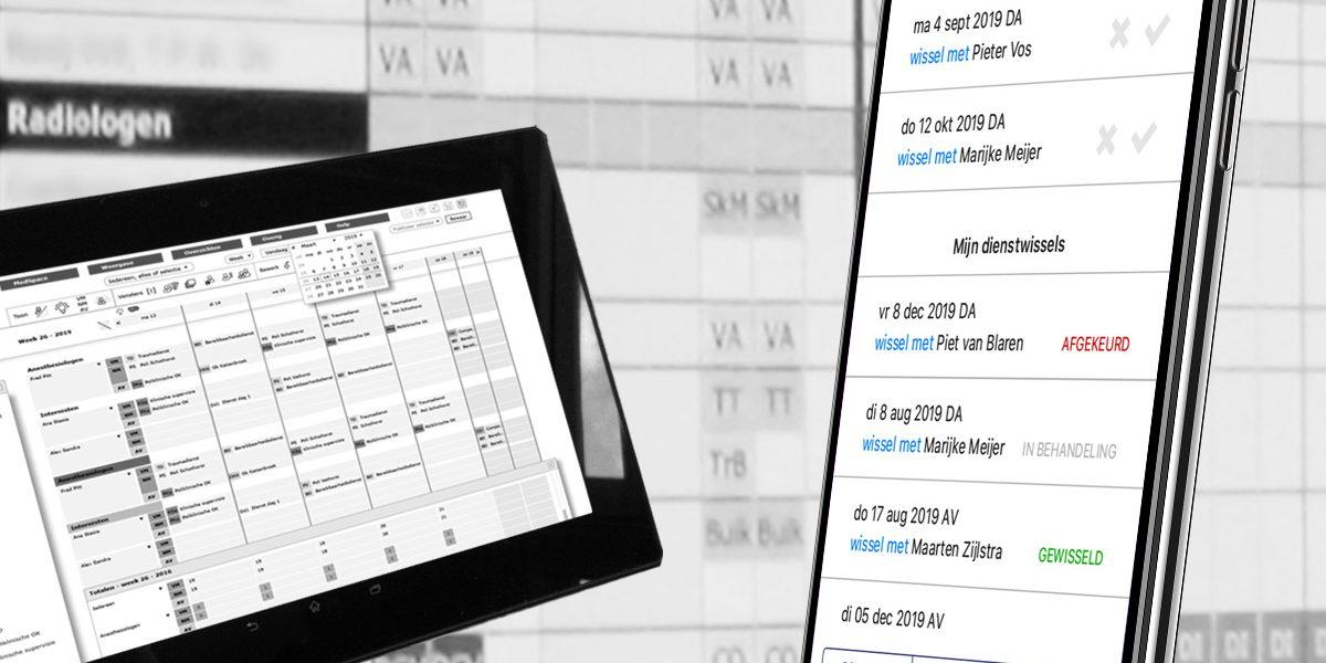 App vormgeving op mobiel, tablet en wandmonitoren voor medische roostermakers
