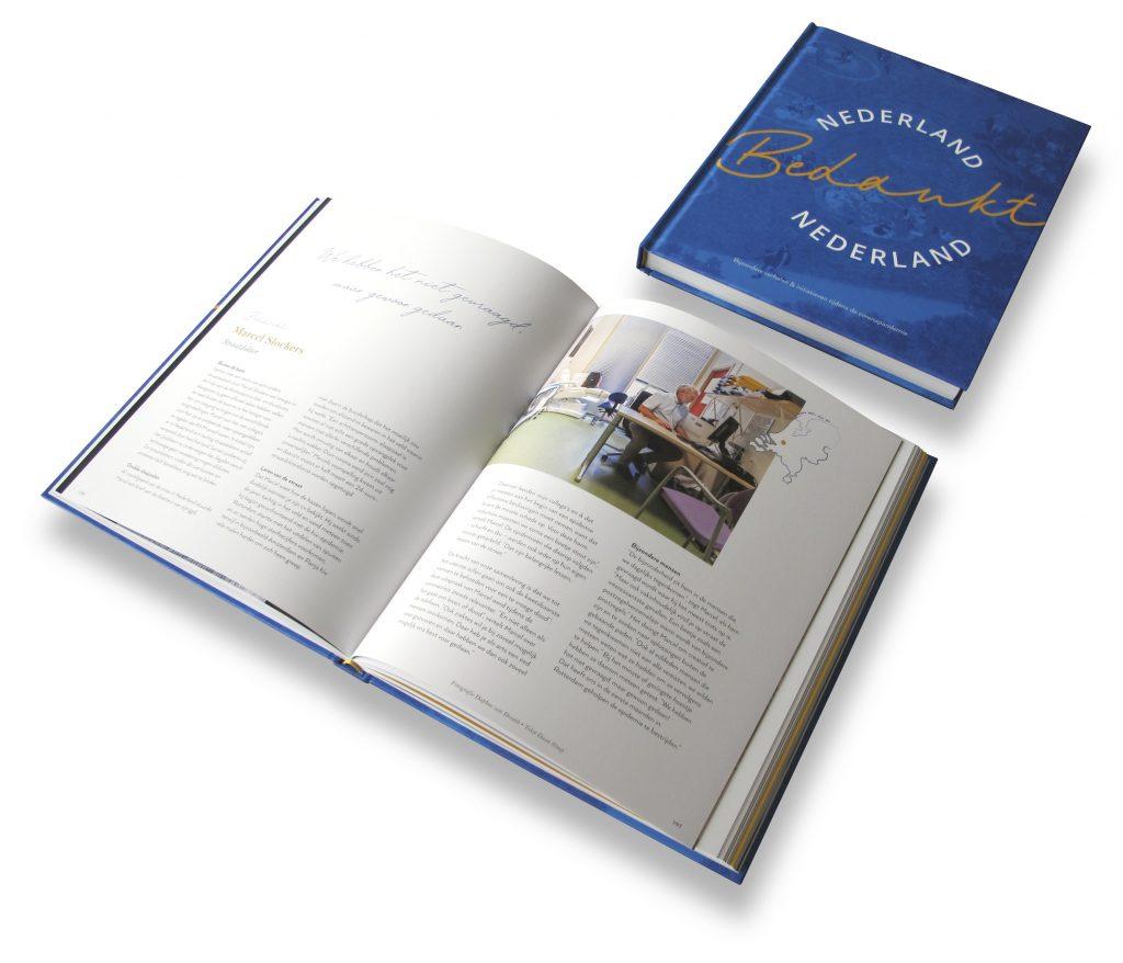 Boek laten maken, mooi boek ontwerp door Dickhoff Design voor Nederland Bedankt