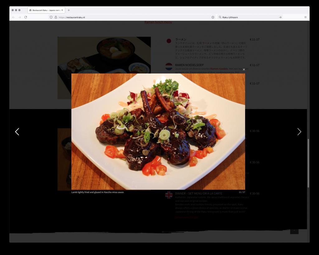 Fotografie Japanse gerechten restaurant Raku